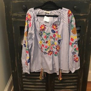 Pinstripe Tropical Embroidered Shirt sz M